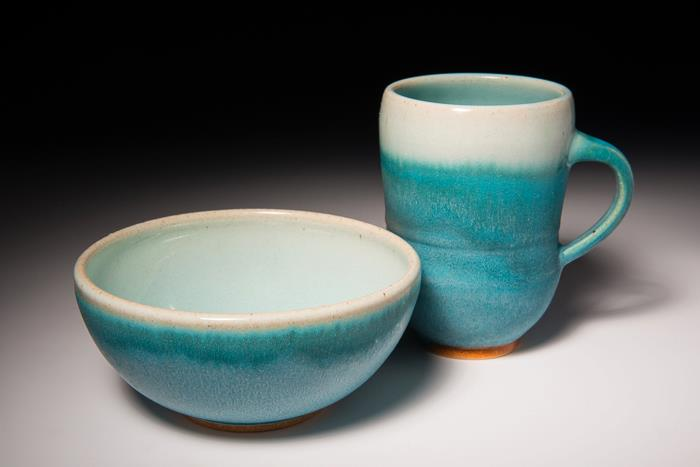 Turquoise Glaze with VC5 on the inside and rim, by Christopher Walker
